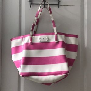 Kate Spade ♠️ pink & white striped tote bag purse